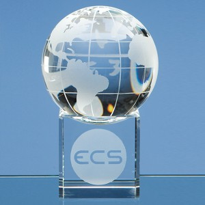 Optical Crystal Globe on Clear Base
