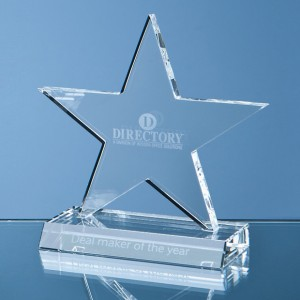 Optical Crystal 5 Pointed Star on Base